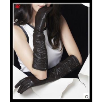 2016 ladies sexy elbow-long genuine sheepskin leather gloves