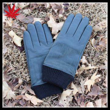 Men's wool knit cuff leather gloves with cashmere lining