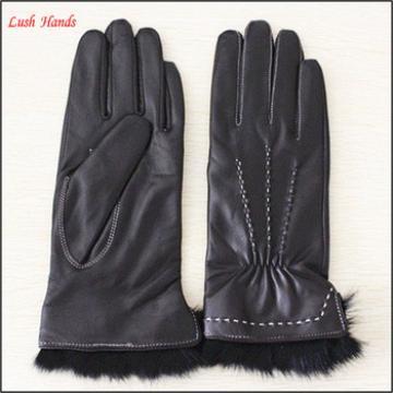 Fashion rabbit fur cuff Lady Leather Gloves