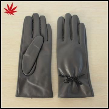 Lady grey hand leather gloves make your hands warm