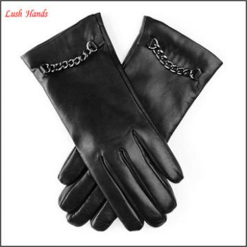 Women's Classic caschmere lined Hairsheep Leather Gloves with Metal chain