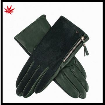 Lady's red horse hair Leather gloves with zipper