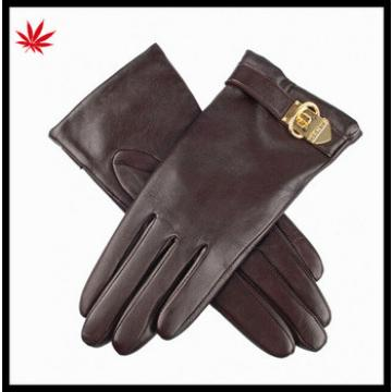 High quality cheap winter women leather gloves with leather belt