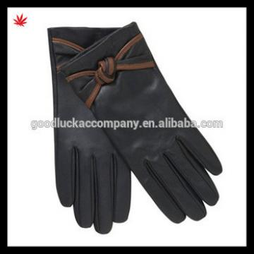 fashion ladies leather gloves with bow details
