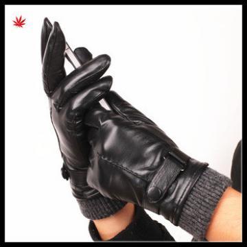 2016 best sell men sheepskin touch screen gloves with knit cuffs