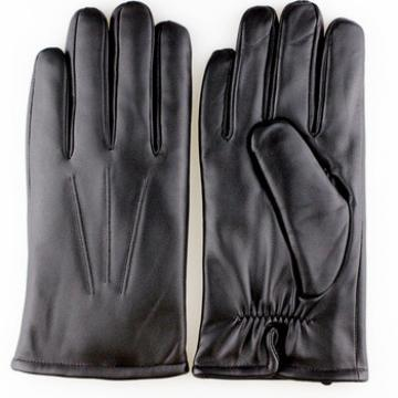 Men's leather gloves with rabbit fur lining