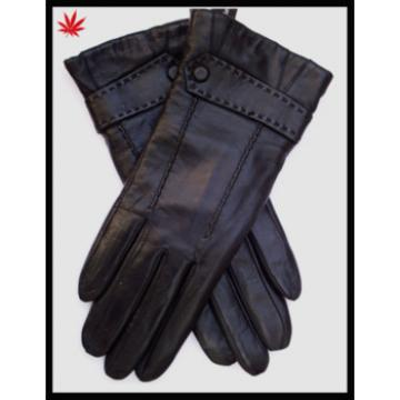 2017 lady sheepskin touch sreen leather gloves with button and cuff fold