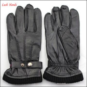 Wholesale men genuine sheepskin gloves custom button wrist leather gloves