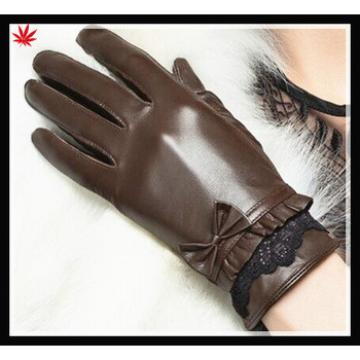 women's 100% sheepskin leather gloves with lace