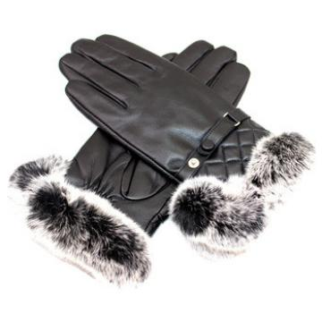 high quality wholesale leather glove with rabbbit fur on cuffs