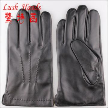 men's high quality black genuine sheepskin leather gloves with wool lining
