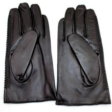 police men's sheeskin black leather gloves with wholesale price