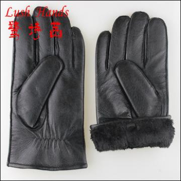 Men's Rabbit Fur lined Hairsheep Leather Gloves with Contrast Metallic Forchettes