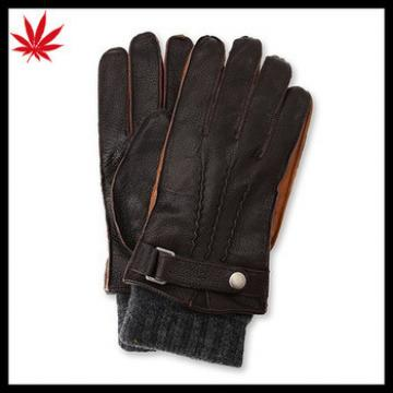 Top quality winter men's leather gloves with comfortable wearing