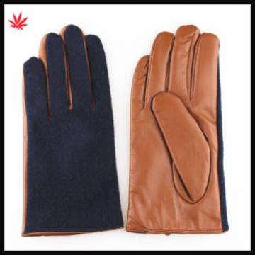 2015 Fashion horse hair and brown PU leather gloves