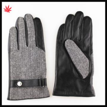 men's cloth and sheep skin half finger touch leather gloves with belt buckle