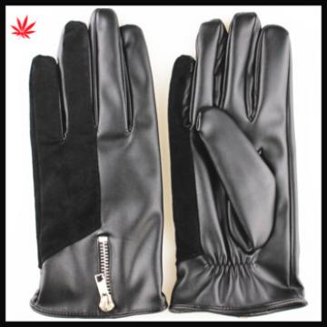 men's winter driver cloth and leather gloves with zipper