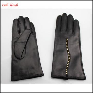 top selling men's genuine leather finger gloves with decoration