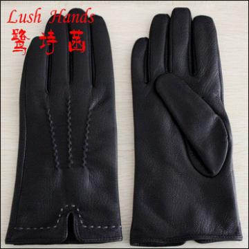 men's Contrast Stitch Lambskin Leather Gloves with Cashmere Lining