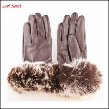women winter sexy leather hand gloves brown