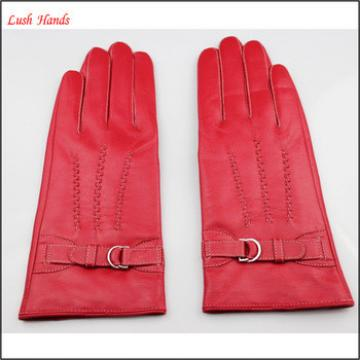 Ladies red leather gloves with leather belt