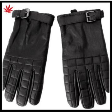 Men's fashion luxury motorcycle leather gloves with buckle