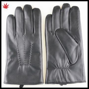 Men's sheepskin Fake hair lining leather gloves