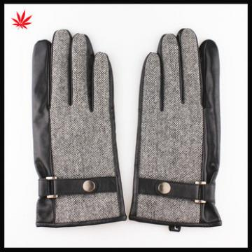 Men's fashion touch screen sheep leather gloves with belt