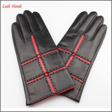 Lady leather gloves popular style putting on
