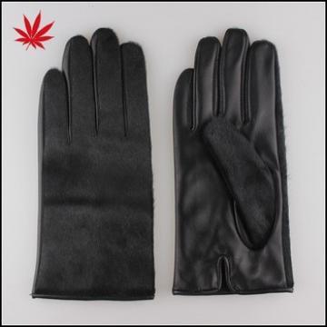 Black pony hair basic leather gloves for women