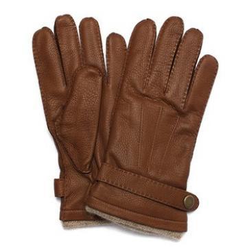 Men's brown winter sheepskin wool lining leather gloves