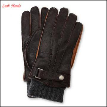 Men's deerskin leather gloves with kintted cuff