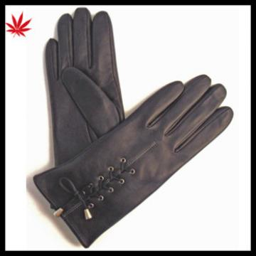 Ladies fashion leather gloves nappa sheep lacing leather gloves