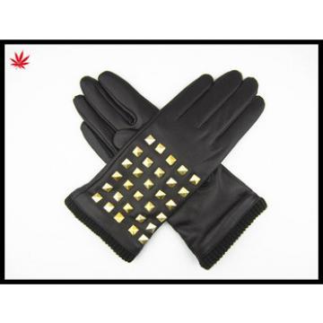Ladies fashion black Seeks nail leather gloves nappa sheep leather gloves