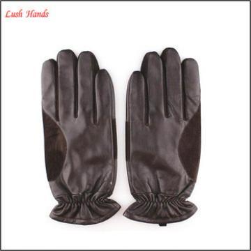 Men's fashion splicing soft sheep skin Leather Gloves