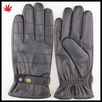 Black Leather gloves with leather belt and button style