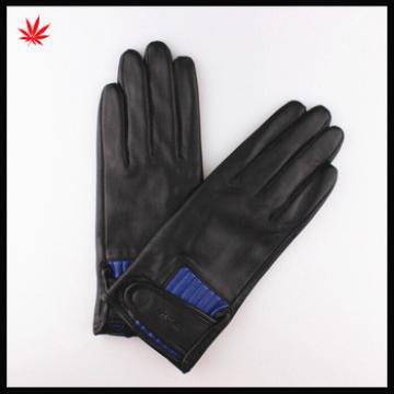Women's fashion splicing soft sheep skin Leather Gloves