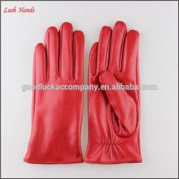 Fashion women Red sheepskin leather gloves