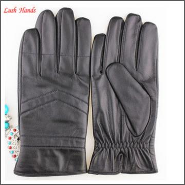 New arrivals, fashion men leather gloves simple style black color