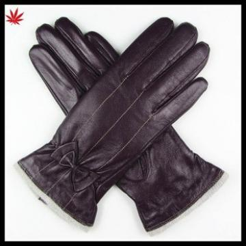 women high quality cashemre lining purple leather glove with bow