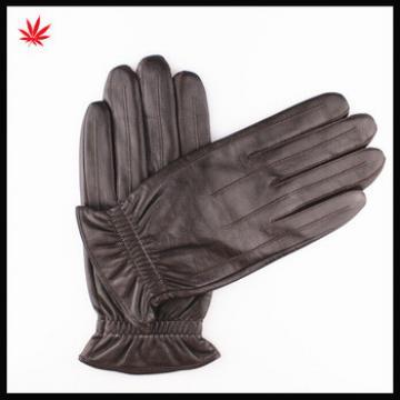 men's Simple thermal sealing stripes sheep skin leather gloves