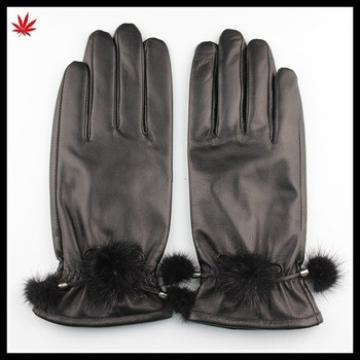 ladies fashion dress sexy leather glove with mink ball from factory