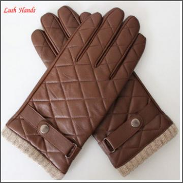 high quality leather gloves for men with knitted cuff