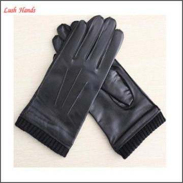 mens fashion black genuine leather glove with knitted cuff