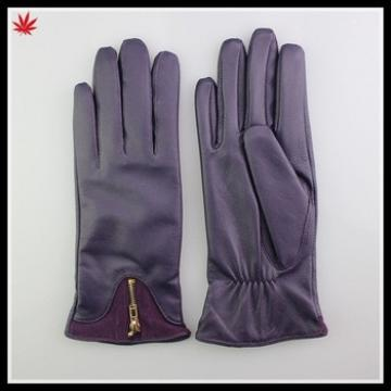 basic style purple color with zipper leather glove for lady