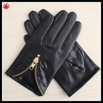 mens short fashion black leather glove with golden zipper