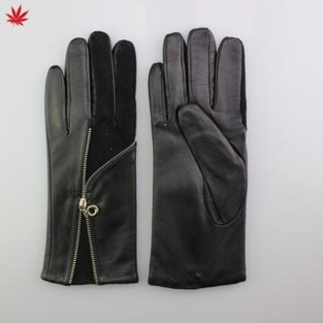 hot selling for women leather glove black fashion leather glove with zipper