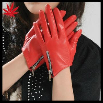 Fashion Red Chain Women's Driving Leather Gloves