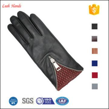 women fashion new style popular leather glove with zipper