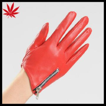 Fashion Red Short Women's Driving Leather Gloves with chain on the cuff